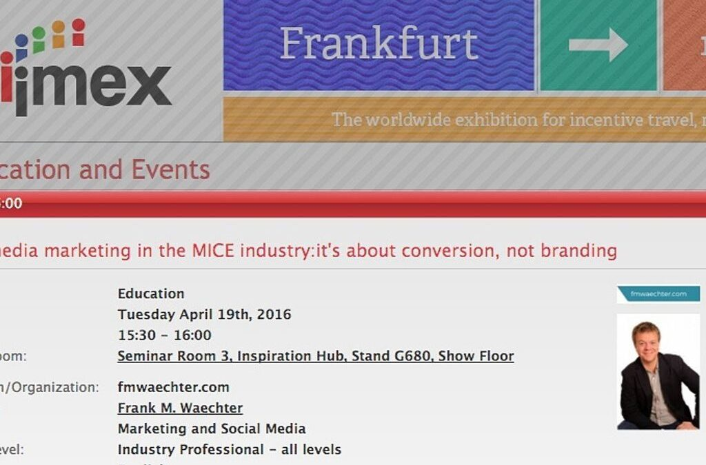 My Inspiration Hub Session at IMEX 2016